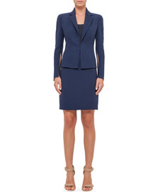 Notched-Collar Wool Crepe Jacket, Navy