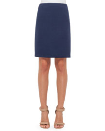 Wool-Crepe Pencil Skirt, Navy