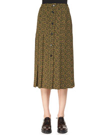 Paisley-Print Button Skirt