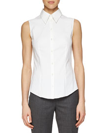 Sleeveless Poplin Button Blouse