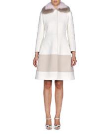 Fur-Collar Cashmere A-Line Coat