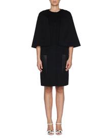 Fleece Wool Cape Coat w/ Leather Pockets, Black