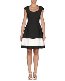 Cap-Sleeve Colorblock Gazar Dress