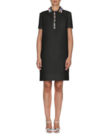 Jewel-Collar Gazar Polo Dress, Black