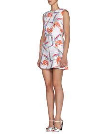 Quilted Bird of Paradise Mini Sheath Dress, White/Multi