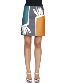 Bird of Paradise-Print Leather Skirt