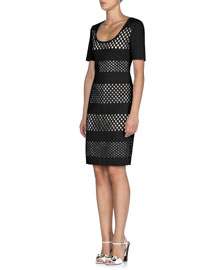 Lace-Effect Short-Sleeve Sheath Dress, Black