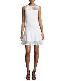 Lace-Effect Sleeveless Fit-and-Flare Dress, White