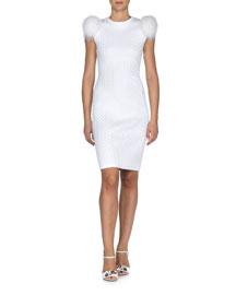 Fox-Fur Sleeve Herringbone Sheath Dress, White