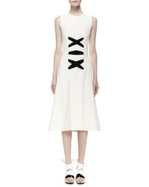 Sleeveless A-Line Dress w/Contrast Lacing