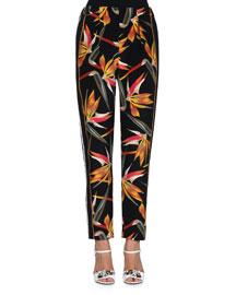 Bird of Paradise-Print Silk Cady Pants