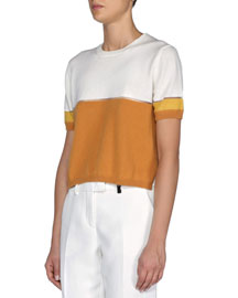Sheer-Seamed Cashmere-Blend Colorblock Crop Top