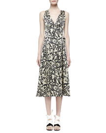 Dahlia-Print Wrap-Front Sleeveless Dress