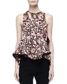 Ruffled Dahlia-Print Sleeveless Top, Old Rose/Black