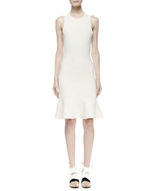 Sleeveless Knit Flounce-Hem Dress, Ivory