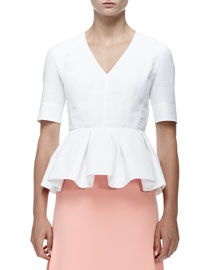 Poplin Half-Sleeve Peplum Blouse, White