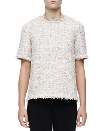 Half-Sleeve Fringe-Hem Tweed Top, Rose