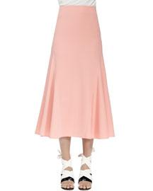 Crepe Flutter-Hem Midi Skirt, Sorbet