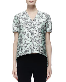 Floral-Print Satin Short-Sleeve Top