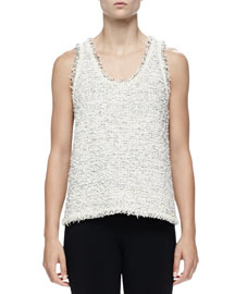 Sleeveless Fringe-Hem Tweed Tank, Ivoire