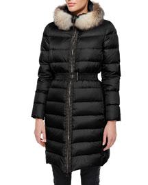 Fabrefox Fur-Trim Puffer Coat with Belt