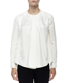 Mixed Jacquard Long-Sleeve Blouse, Ivoire