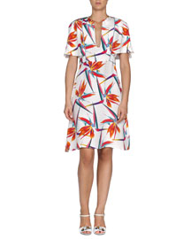 Bird of Paradise-Print Silk Cady Dress