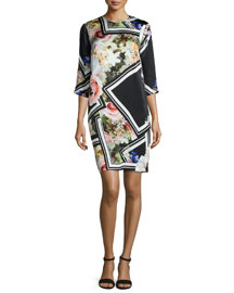 Floral-Border-Print Silk Dress