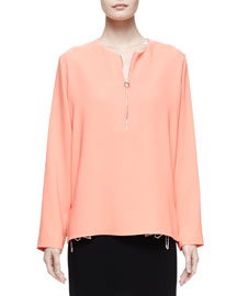 Long-Sleeve Zip-Front Blouse, Peony