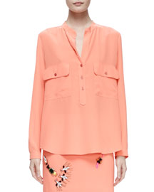 Eva Band-Collar Long-Sleeve Silk Blouse, Peony