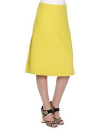 Wool A-Line Midi Skirt, Acid