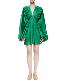 Gathered Satin Dolman-Sleeve Dress, Green