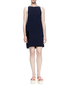 Colorblock Crepe Shift Dress, Indigo/White/Black