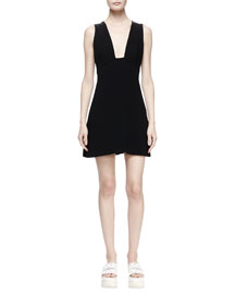 Plunging A-Line Crepe Dress, Black