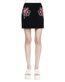 Floral-Applique Mini Skirt, Black