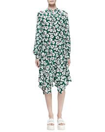Floral-Print Handkerchief Silk Shirtdress
