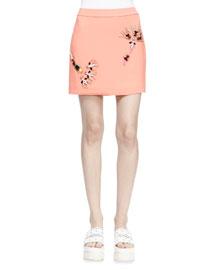 Embellished Cady Mini Skirt, Peony