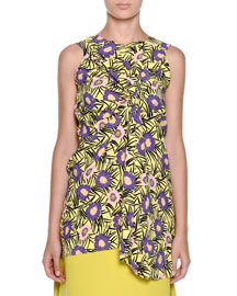 Floral-Print Sleeveless Wrap-Front Top, Acid