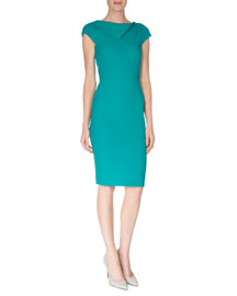 Zonda Wool-Crepe Sheath Dress, Sea Green