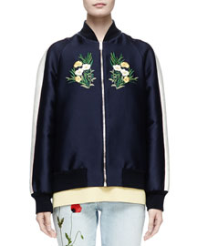 Floral-Embroidered Bomber Jacket, Ink