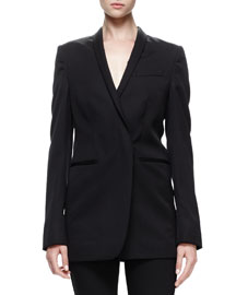 Isla Tapered Shawl-Collar Jacket, Black