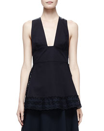 Crisscross-Back Top with Broderie Anglaise Trim, Navy