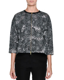 3/4-Sleeve Cropped Floral Jacquard Jacket