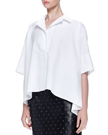 Short-Sleeve Oversized Poplin Shirt