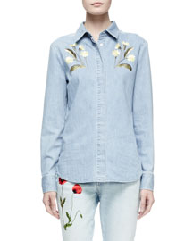 Floral-Embroidered Denim Shirt, Pale Blue