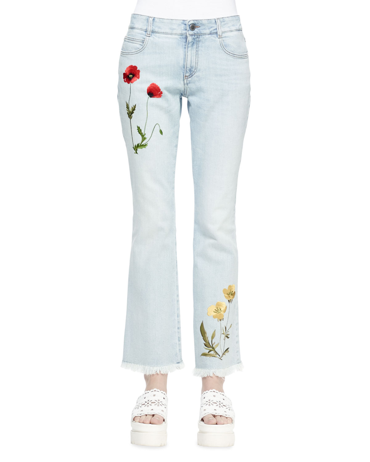 Stella McCartney Floral-Embroidered Flare Jeans, Sun Fade Blue, Size: 27, Pale Blue
