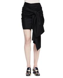 Tie-Front Wrap Mini Skirt, Black