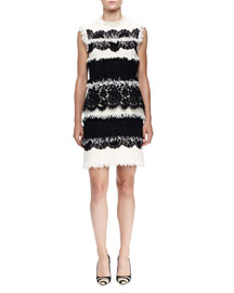 Fringe & Lace Paneled Sheath Dress, Ivoire/Noir