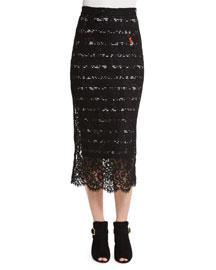 Striped Lace Midi Pencil Skirt, Black