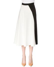 Bicolor A-Line Crepe Skirt, White/Black